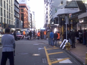 Filimg continues on 'Players', Featherston Street, Wellington, January 24th, 2011